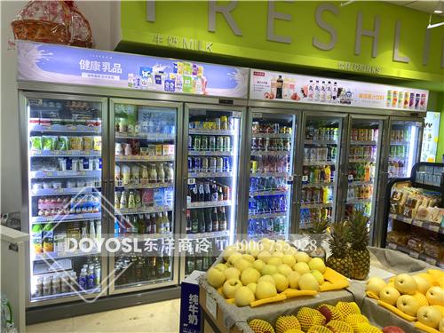 广东省深圳市龙华新区新区大道超市展示柜-饮料柜-风幕柜案例