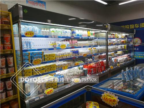 广东省汕尾市城区超市冷柜-牛奶展示柜-风幕柜案例